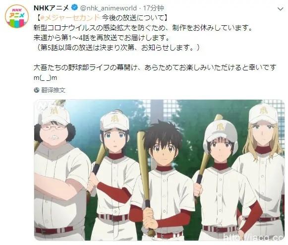受疫情影响「棒球大联盟2nd」5话后将停止播出