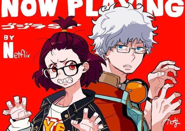 加藤和惠为TV动画「哥斯拉:奇点」发布开播宣传贺图